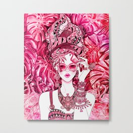 Summer Time_Flamingo Beach_pink Metal Print