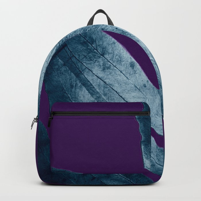 Midnight Sepia Navy Blue Purple Fern Backpack