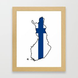 Finland Map with Finnish Flag Framed Art Print