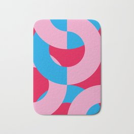 Blue and Pink circled chains, in a red Backgrounded Prison. Bath Mat