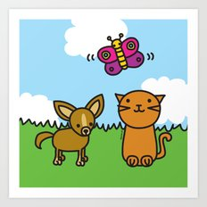 Butterfly, Cat and Dog Art Print