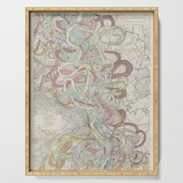 Beautiful Map of the Lower Mississippi River Serving Tray