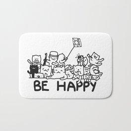 Be Happy Cats Doodle Bath Mat