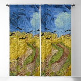 Wheat Field with Crows, Vincent Van Gogh Blackout Curtain