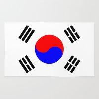 korea Area & Throw Rugs featuring south korea country flag by tony tudor