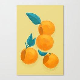 Oranges on yellow Canvas Print