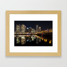 Seaport Bridge Boston Skyline Reflection Boston MA Framed Art Print
