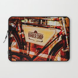 Barber shop vintage photograph of an antique bicycle Laptop Sleeve