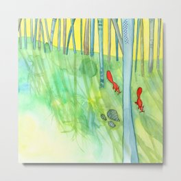 Summer Woods and Critters Metal Print
