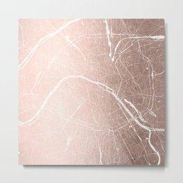 Paris France Minimal Street Map - Rose Gold Glitter on White Metal Print