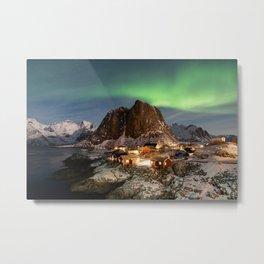 Northern Lights Over Hamnøy Metal Print