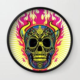 Flaming Skull White Wall Clock