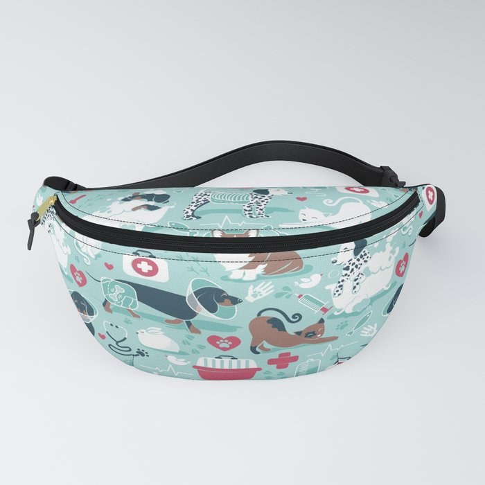 Veterinary medicine, happy and healthy friends // aqua background Fanny Pack