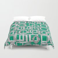 frames Duvet Covers featuring picture frames aplenty green by Sharon Turner