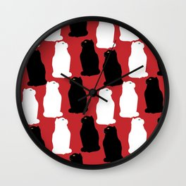 Black and white Scottish fold cats pattern Wall Clock