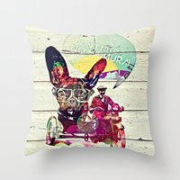 french Throw Pillows featuring FRENCH by DON'T NEED NO SAMURAI