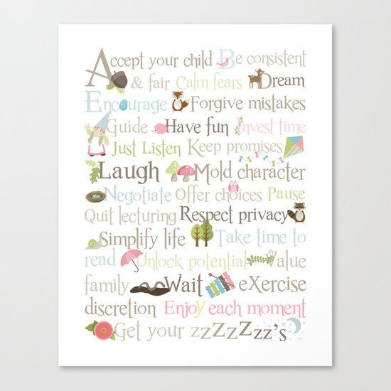 ABCs of Parenting - Woodland - Pink Canvas Print