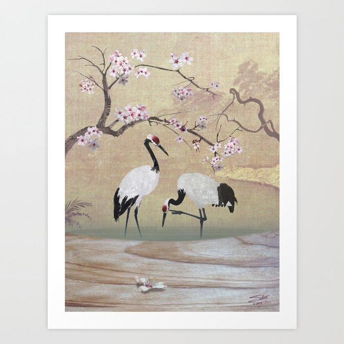 Cranes Under Cherry Tree Art Print