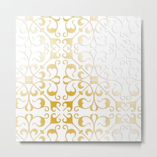 Damask Gold Metal Print