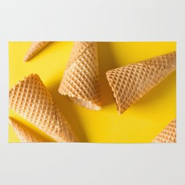 Simple ice cream cone. Yellow background. Rug