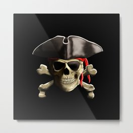The Jolly Roger Pirate Skull Metal Print