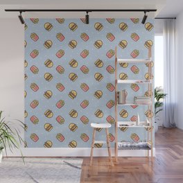 Cute pink brown blue funny fries burger food triangles pattern Wall Mural