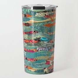 Goodbye Wave Abstract Art Collage Travel Mug