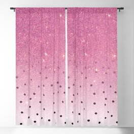 Black white polka dots pink glitter ombre Blackout Curtain