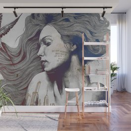 Monument: Red & Blue (sleeping beauty, woman with skyline tattoo and bird) Wall Mural