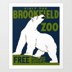 Vintage Polar Bear Zoo Ad Art Print