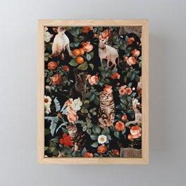Cat and Floral Pattern II Framed Mini Art Print