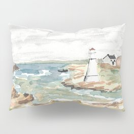 Maritime Lighthouse Seascape Watercolor Pillow Sham