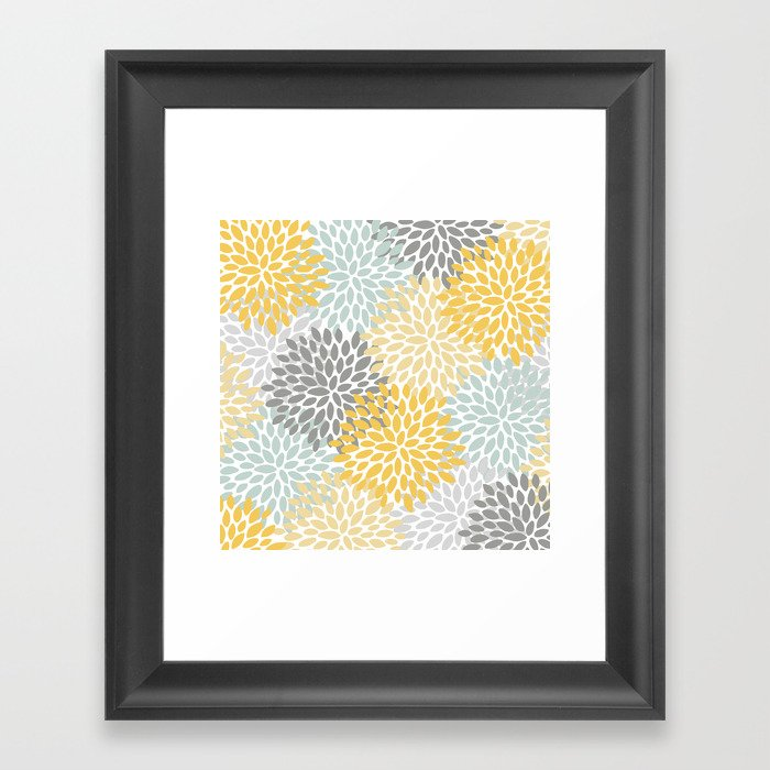 Floral Pattern, Yellow, Pale, Aqua, Blue and Gray Gerahmter Kunstdruck