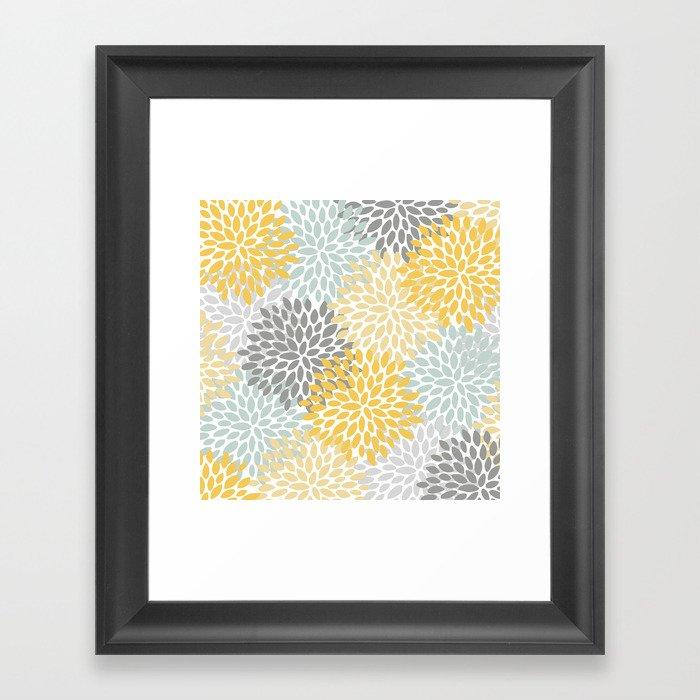 Floral Pattern, Yellow, Pale, Aqua and Gray Gerahmter Kunstdruck