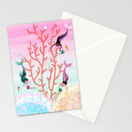 Mermaids' Coral Garden childrens' illustration Stationery Cards