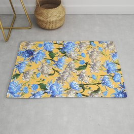 Mums Pattern  |  Yellow-Blue-Cream-White Rug