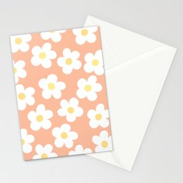 Peach 70's Retro Flower Power Stationery Cards