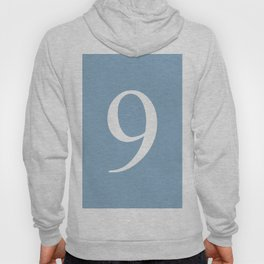 number nine sign on placid blue color background Hoody