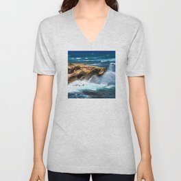 Wild Rogue Ocean Waves Crashing On Rocks Unisex V-Neck
