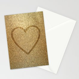 Gold Heart Stationery Cards