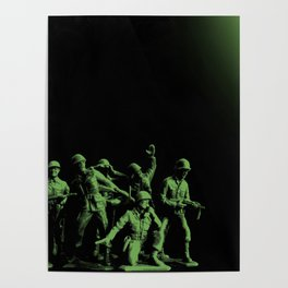 Plastic Army Man Battalion Black and Green Poster