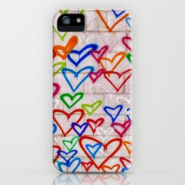 Photograph of Hearts on a Wall, street art iPhone Case