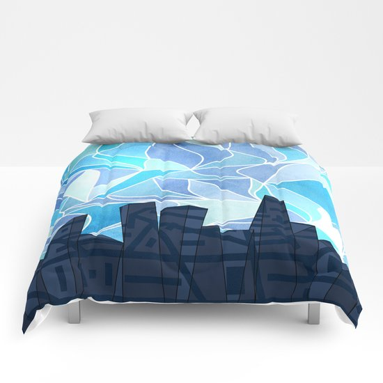 Barruf's Skyline In Blue Comforters