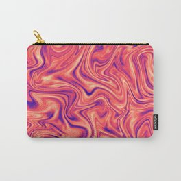 Abstract Colorful Marble Pattern Bright Living Coral, Neon Ultra Violet Carry-All Pouch