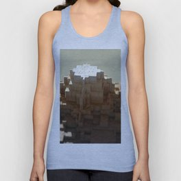 Temple mayan structure macro material structure building city landscape background Unisex Tank Top