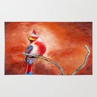 cardinal Area & Throw Rugs featuring cardinal by HaMaD ArT