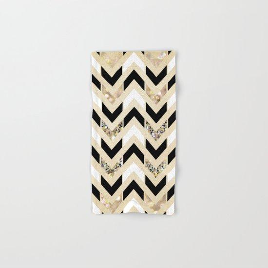 Black, White & Gold Glitter Herringbone Chevron on Nude Cream Hand & Bath Towel