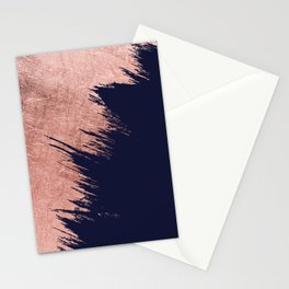 Navy blue abstract faux rose gold brushstrokes Stationery Cards