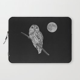 Owl, See the Moon (bw, sq) Laptop Sleeve
