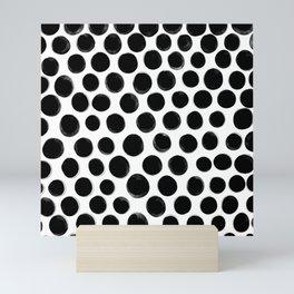 Vector seamless hand draw polka dot brush black white pattern. Monochrome Scandinavian background Mini Art Print